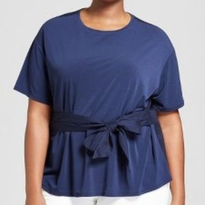 Ava & Viv Knit Woven Tie Short Sleeve T-Shirt